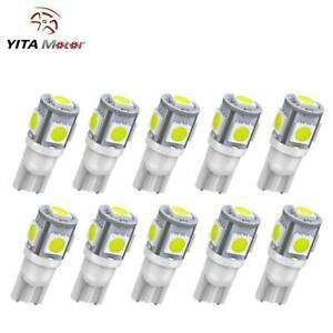 10 Pcs T10 White 168 194 W5w 5smd Led Car Wedge Interior Light Lamp Bulb Dc 12v