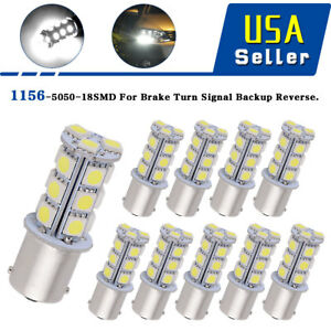 10x Dc12v 1156 1141 1003 Ba15s 18 Smd Interior Rv Camper White Led Light Bulbs