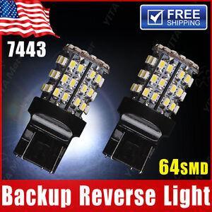 2x White 7443 Backup Reverse Led Light Bulbs 64 Smd 7440 7444 7441 992 992a W21w