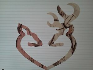 Browning Style White Buck And Pink Doe Camo Heart Hunting Sticker Decal