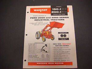 Wagner Iron Work Cover Sheet Model 150 i And 200 i Ford Tractors 2000 4000 M4193