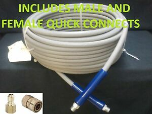 100 Ft 3 8 Gray Non marking 4000psi Pressure Washer Hose Free Shipping