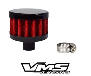 Vms Racing 9mm Mini Universal Valve Cover Air Filter Breather W Clamp Red