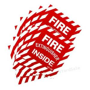 10 Signs Fire Extinguisher Inside 4 x4 Self Adhesive Vinyl Signs