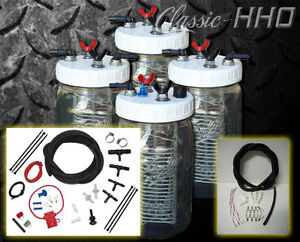 Classic hho Hydrogen Generator 4 Cell System Premium Dual Supply Hook Up Kit
