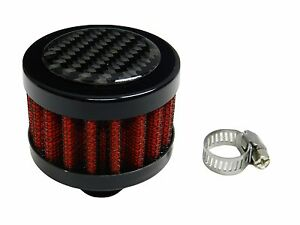 Carbon Fiber 9mm Mini Universal Valve Cover Air Filter Breather W Clamp Red
