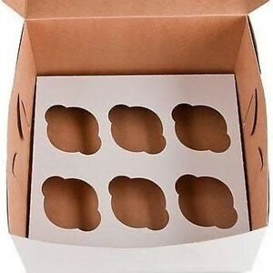 25 Cupcake Box Holds 6 White 10x10x4 Bakery Or Cake Box With Inserts For 150