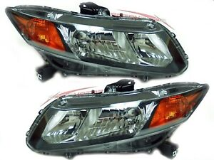 For 2012 Honda Civic Coupe Sedan fits Si Head Lights Pair Lh rh