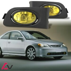 Winjet 2001 2003 Honda Civic Coupe Sedan Fog Light Kit Pair Set Lh Rh Yellow