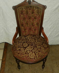 Solid Walnut Carved John Jelliff Parlor Chair Side Chair Sc171