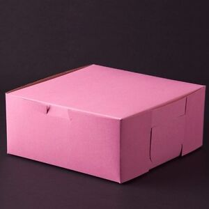 25 Count Pink 10x10x4 Bakery Or Cake Box
