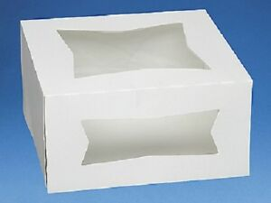 Pack Of 25 White 8x8x4 Window Bakery Or Cake Box