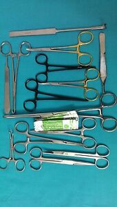 52 Pcs Neuter Spay Pack Veterinary Surgical Instruments Gold Handle Black Color