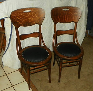 Pair Of Solid Quartersawn Oak Dinette Chairs Sidechairs Jlc Sc173