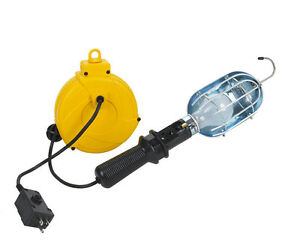 Home Repair Trouble Work Light 20ft Retractable Cord Reel Alert Stamping 920dt