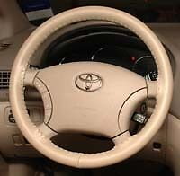 Sand Creamy Beige Custom Fit Leather Steering Wheel Cover Wheelskins Size C