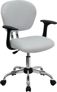 Mid Back Office Desk Chair With Arms White Mesh Upholstery And Chrome Accents