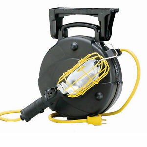 50 Industrial Incandescent Retractable Cord Reel Work Light With Outlet 8050m W