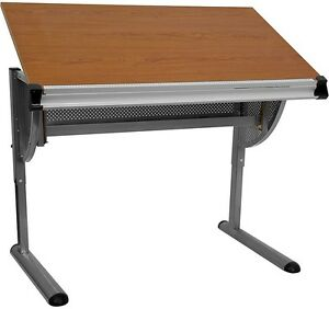 Adjustable Drawing And Drafting Table With Cherry Wood Top And Metal Frame