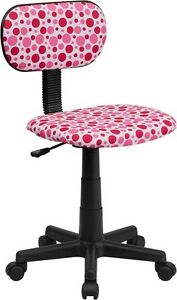 Multi Colored Pink Dot Printed Kids Or Adult Office Desk Chair
