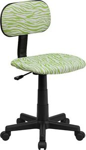 Green And White Zebra Printed Kids Or Adult Office Desk Chair