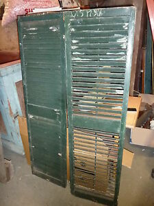 Pr Victorian Louvered House Window Shutters Old Green Paint 61 5 X 17 3 8
