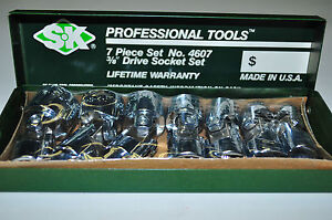 Sk Tools 4607 7 Piece 3 8 Drive 6 Point Flex Fractional Socket Set Made In Usa