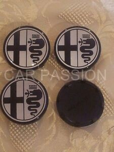 Alfa Romeo Wheels Center Caps Set Mito 147 156 166 Gt 50mm Badge Emblem Black