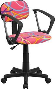 Multi Colored Swirl Printed Pink Kids Or Adult Office Desk Chair With Arms