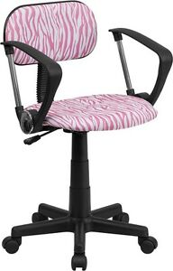 Pink And White Zebra Printed Computer Office Desk Chair With Arms