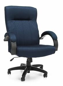 High Back Navy Upholstered Contemporary Executive Office Chair