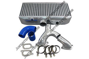 Cxracing Top Mount Intercooler Y pipe Kit For 02 07 Subaru Wrx sti Blue Hoses