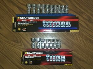 17pc Gearwrench Sae And Metric 3 8dr Chrome Flex Socket Sets 80565