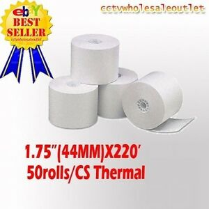 44mm 1 3 4 X 220 Thermal Cash Register Paper 1 Case 50 New Rolls free Sh