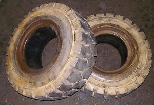 23x9 10 Set Of Two Heungah Lightly Used Forklift Tires
