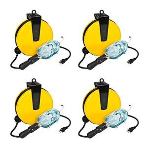 Case Of 4 Incandescent Retractable Shop Reel Trouble Work Light 5000a 30g