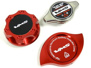 Vms Racing Oil Cap Radiator Cap Billet Cover Red Honda Acura B