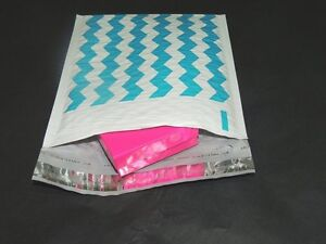 100 6x9 Blue Chevron Poly Bubble Mailers Bubble Padded Mailing Shipping Envelope