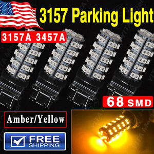 4pcs Amber Orange Car Parking Light 3157 Led Bulbs 68 Smd Led Light Bulb 3157a