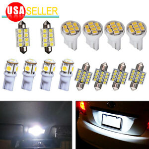 14x 6000k White Led Interior Package Kit For T10 30mm Dome Map License Lights