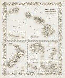 Large Vintage Historic Hawaiian Sandwich Islands 1841 Antique Style Map Print