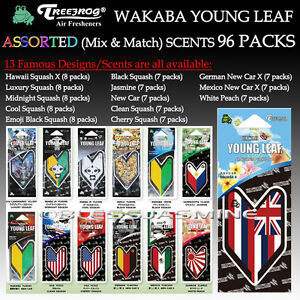 96 Packs Wakaba Japan Treefrog Young Leaf Assorted 13 Scents Jdm Air Freshener