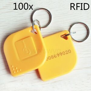 100x 125khz Rfid Em4100 Proximity Induction Tag Token Keyfob For Access Control