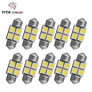 10 X Xenon White Festoon 27 28mm 5050 4 Smd Dome Map Led Light Bulbs De3022 3528