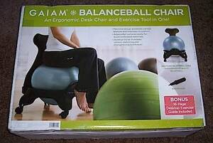 New Gaiam Balance Ball Chair Back Pain Relief Office Ergonomic Desk Exercise