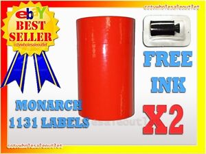 2 Sleeves Fluorescent Red Label For Monarch 1131 Pricing Gun 2 Sleeves 16rolls