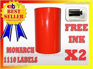 2 Sleeves Fluorescent Red Label For Monarch 1110 Pricing Gun 2 Sleeves 32rolls
