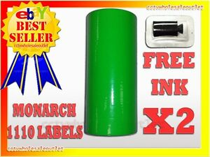2 Sleeves Fluorescent Green Label For Monarch 1110 Pricing Gun 2 Sleeves 32rolls