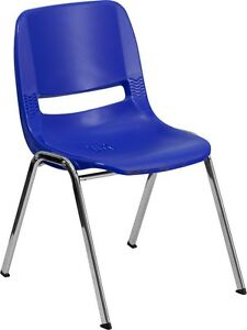 Heavy Duty Blue Ergonomic Shell Stack Chair With Chrome Frame School Chair