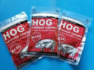 3 pak Natural Hog Pork Sausage Stuffing Skin Casings Casing For 75 Lbs Or Meat